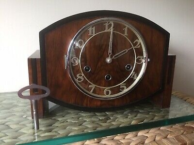 Haller Art Deco Westminster Chiming Clock, Fully Serviced, Re-bushed With Key