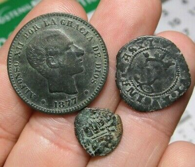 Lot 3 Dated Pirate Treasure Cobs Spanish Maravedis Colonial Old Coins (1)