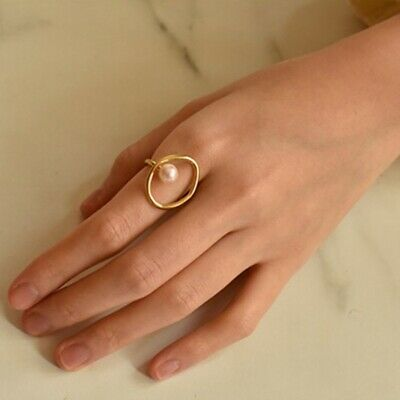 Women Engagement Irregular Circle Finger Pearl Band Ring Gold Chic Jewelry Gift
