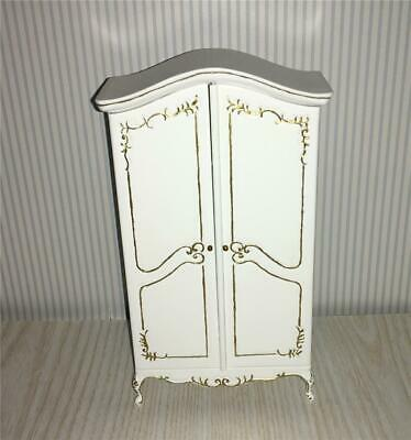 Miniature Dollhouse Bespaq White Notions Cabinet W/Gold Detail - 2822-Gpd