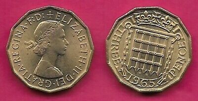 GREAT BRITAIN 3 PENCE 1961 UNC CROWNED PORTCULLIS,ELIZABETH II BUST RIGHT,WITHOU