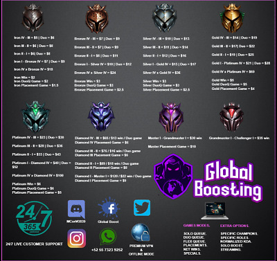 LEAGUE OF LEGENDS Elo boosting ( NA SERVER ) (BOOST UP TO