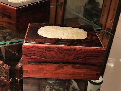 Chinese Carved Rose Wood Jewelry box Inlaid White Jade Plaque/pendant ,Very Rare
