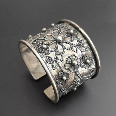 Chinese exotic tribal handmade miao silver  filigree flower wide bracelet 1piece