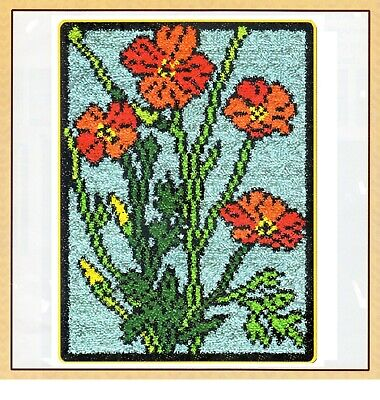 POPPY FLOWER WINDOW LATCH HOOK RUG KIT from UK Seller, NEW DESIGN