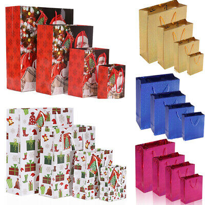 6X Christmas Bags Party Gift Coloured Paper Loot Bags Handles Wedding Birthday