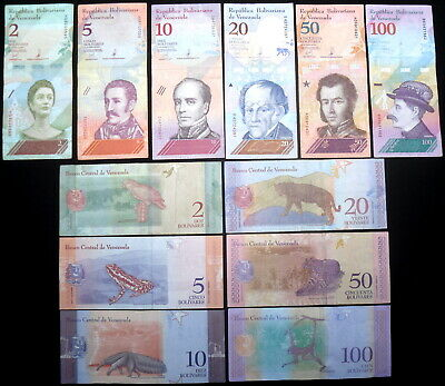 Venezuela 6 Diff. Lightly Circ. Animal Notes 2-100 Bolivares 2018 Real Money!