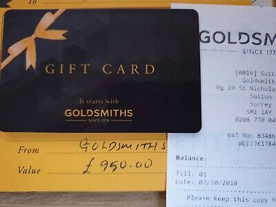 £950 Goldsmiths Jewellery Gift Card / Voucher for £725 (£225 pounds for free)