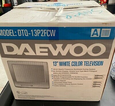 "Daewoo , 13"" , White , Color TV , DTQ-13P2FCW , Vintage , NIB!"