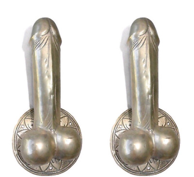 "2 silver plated PENIS DOOR PULL or HOOK hand made solid brass 9 "" handle heavy B"