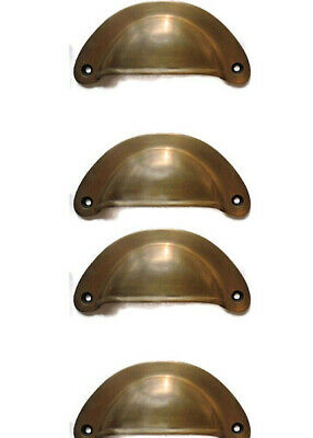 4 shell shape pulls handles heavy solid brass vintage aged style drawer 10 cm B