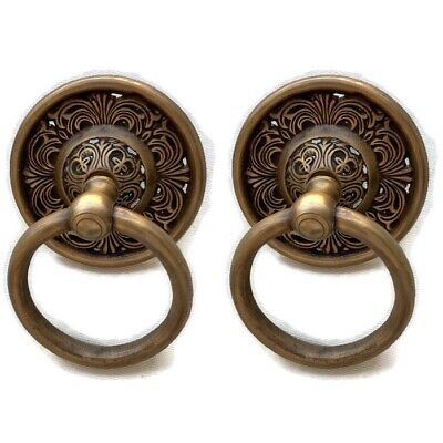 """2 handle 9cm ring pull solid brass heavy old vintage style DOOR 3.1/2"""" bolt B"""