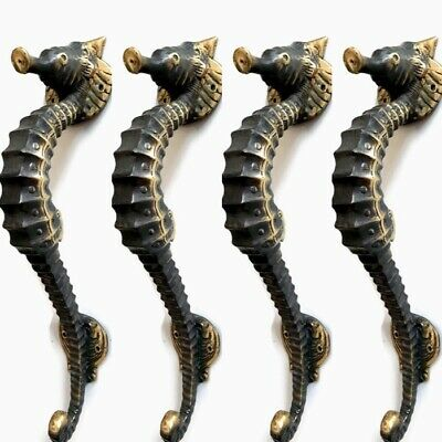 "4 small aged SEAHORSE solid brass door old style PULL handle 10"" seaside B"