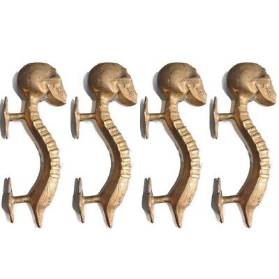 4 small SKULL handle DOOR PULL spine solid BRASS polished vintage style 210mm B