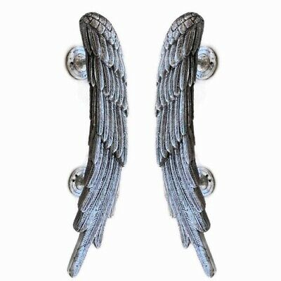 "2 ANGEL WINGS14"" hollow brass door PULL SILVER wings PULL handle 36 cm B"