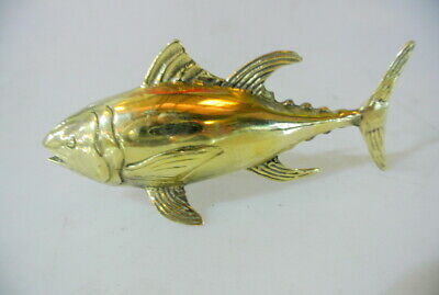 "cute small TUNA FISH solid BRASS statue 4"" display trophy heavy 10 cm B"