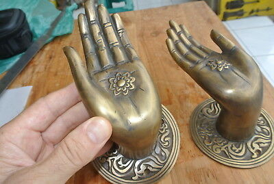 Pair large BUDDHA Pull handles hand aged heavy cast brass door old style 10 cm