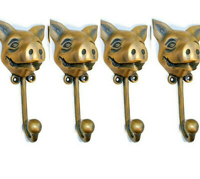 "4 heavy PIG HOOK WALL MOUNTED COAT old style solid brass BAG ANIMAL 6"" HANGER B"