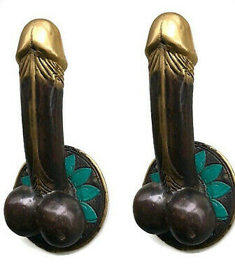 "2 PENIS shape DOOR PULL or HOOK hand made solid brass 9 "" handle heavy Phallus B"