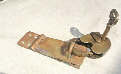 used  padlock & catch hasp latch vintage old  style house DOOR Key heavy aged