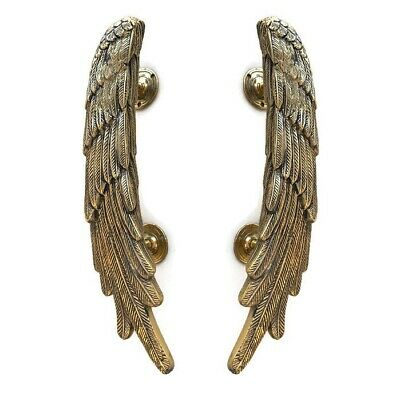 "2 ANGEL WINGS14"" hollow brass door PULL Polished wings PULL handle 36 cm B"