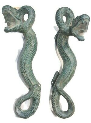 2 SNAKE Python real brass door PULL antique green hollow house PULL handle 35cmB