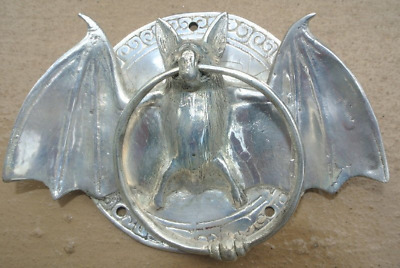 "silver plate Door Knocker BAT ring old heavy front SOLID BRASS vintage 7 "" pullB"