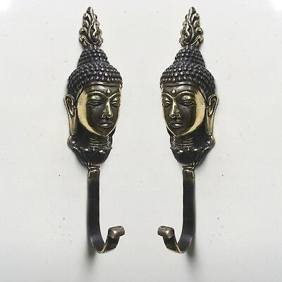 "2 BUDDHA dewi HOOK 7 "" long aged solid real heavy BRASS old vintage style B"