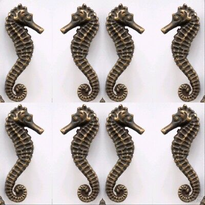 8 Sea Horse Cabinet Pull Set Door Knob Handle Seahorse pure aged Brass 7.5 cm B