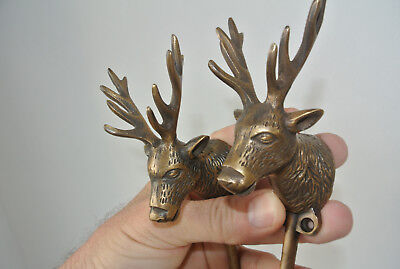 "2 small REINDEER stag horns HOOKS solid BRASS old hook aged style 6 "" Deer B"