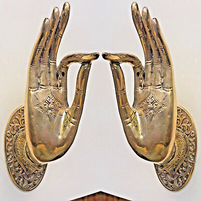 2 exquisite large Buddha Pull handle Finger door polished brass HAND 25cm hook B