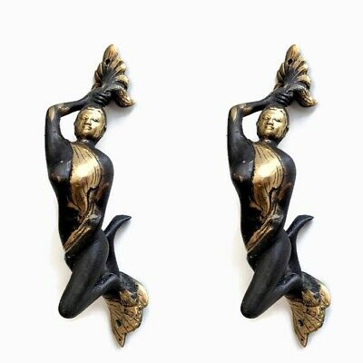 2 deco lady MERMAID reclining SOLID brass cast handles aged finish heavy 20cm B