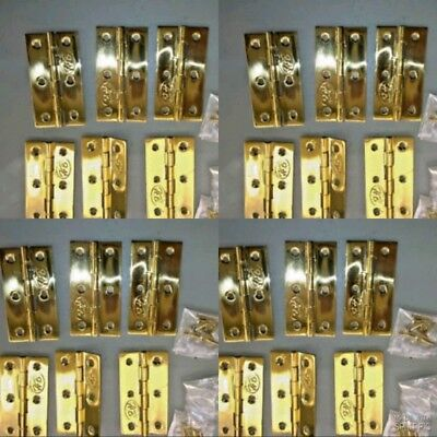 24 small hinges vintage style polished solid Brass DOOR light restoration 2.1/2""