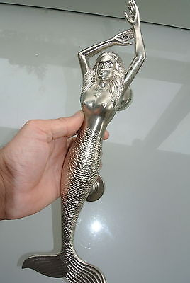 "large  LEFT MERMAID solid brass door PULL very heavy house handle 15"" SILVER B"