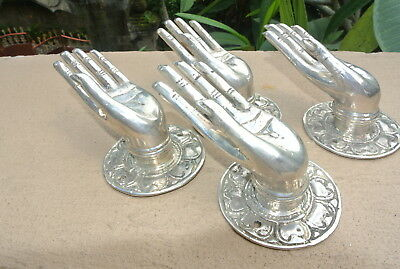4 small BUDDHA Pull handle open hand brass silver door old style knob hook 6cm B
