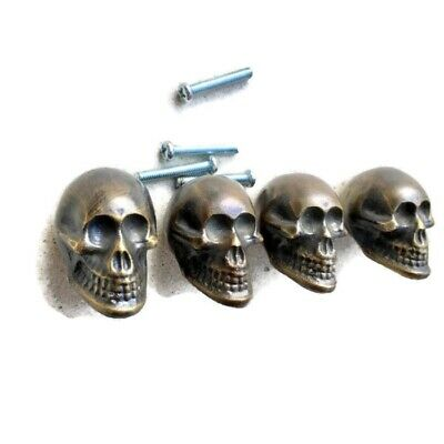 "4 small Skull Drawer Gothic Finger Pull Solid aged Brass 1.3/4"" knobs drawers B"