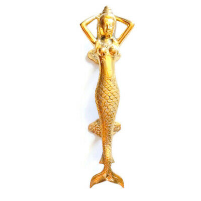 "medium MERMAID brass door PULL old style heavy house PULL handle 13"" aged B"