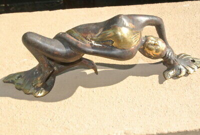 "Reclining deco lady door handle 11 "" inch solid brass (hollow) heavy door PULL B"