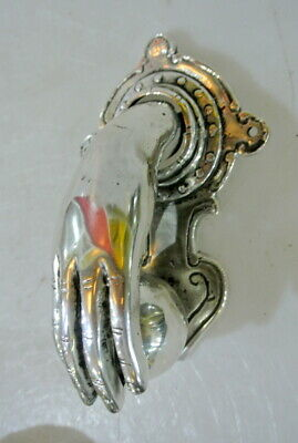 "hand fist ball brass Door Knocker hand fingers 6 "" inches long chrome PLATED B"