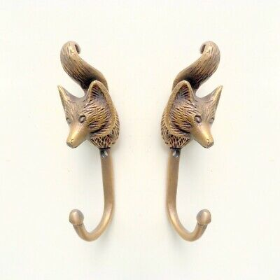 2 small fox COAT HOOK solid aged old brass antiques old style 11 cm hook cast B
