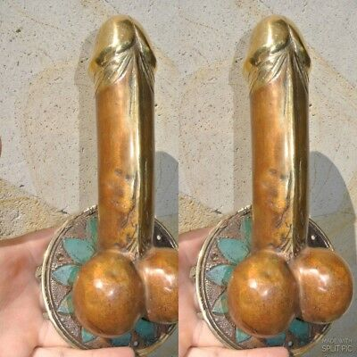"2 PENIS shape DOOR PULL or HOOK hand made solid brass 9 "" handle heavy phallusB"