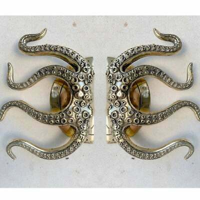 "pair OCTOPUS Solid 100% Brass hand POLISHED Door PULL HANDLE 9"" high aged B"