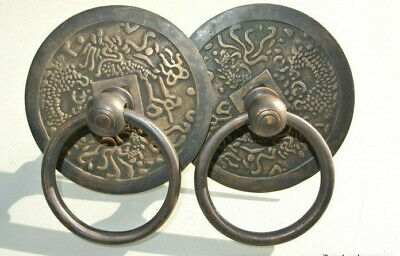 """2 large asian handle ring pull solid heavy brass heavy old style DOOR 4 """" bolt B"""