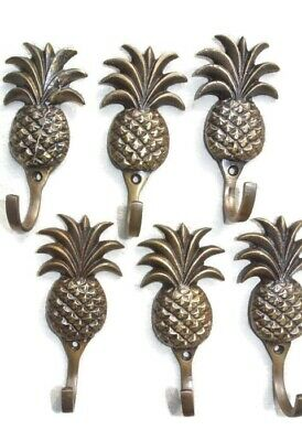 6 small PINEAPPLE solid BRASS HOOK COAT WALL Mount HANG  Polished hook 10 cm B