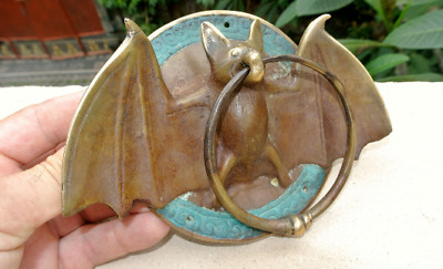 "Door Knocker BAT ring old front SOLID BRASS vintage old style green patina 7""B"