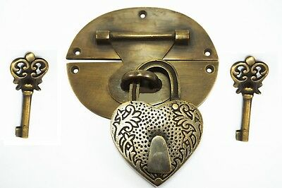 "heavy HASP & STAPLE heart engraved Padlock and KEYs inc 5"" OVAL catch latch B"