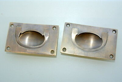 2 heavy RECESSED pulls handles BOX antique solid brass vintage old replace draw