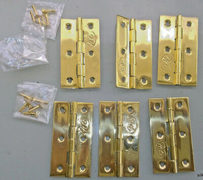 6 small hinges vintage style polished solid Brass DOOR light restoration 2.1/2""