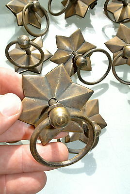 10 STAR RINGS small knob pulls handles door old antique style drops knobs 60mm B