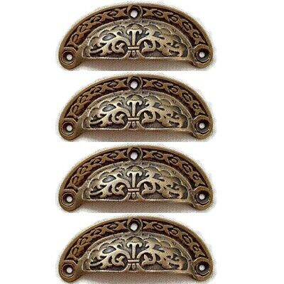 4 engraved shell shape pulls handles heavy solid brass old style drawer 9 cm B